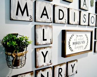 "Large Scrabble Tiles , 5.5"" wood tiles blocks, Scrabble tile Wall art, Farmhouse Style Decor,  Personalized Sign, Wood Letter"