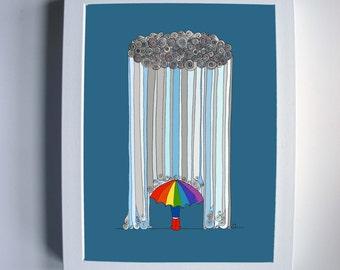 Dancing in the Rain - 8''x10'' print wall art digital illustration rainy day umbrella