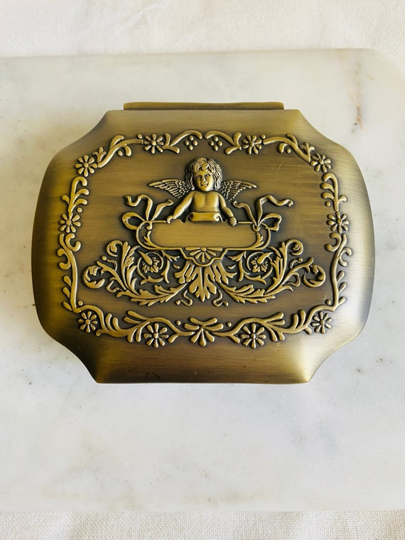 Cupid Angel Display Treasure Chest with Lid 1960s Vintage Brass Glass Box