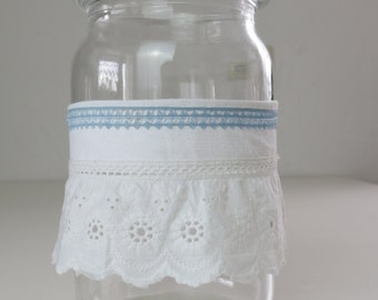 Wind light for interior and exterior, german jar with vintage cotton