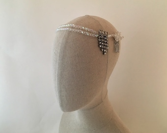 1920's Wedding Headband, 1920's Bridal Headband, Crystal Headband, Diamante Headband, Vintage Wedding Headpiece, Beaded Headband