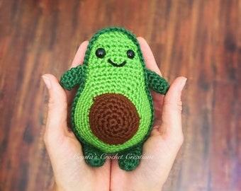 Made to Order- Stuffed Avocado Plushie // Crochet Avocado Keychain// Avo-cat-o Plush// Cat Avocado