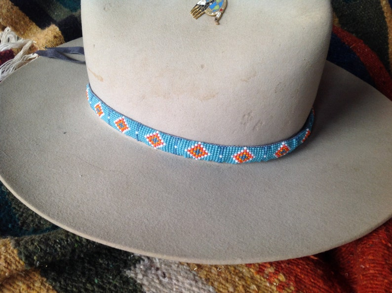 fa8db9c8008 Blue Sioux Native American pattern seed bead loom work hatband
