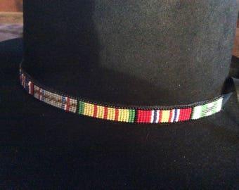 Vietnam Service Ribbon loom beaded hatband with black Deerskin backing