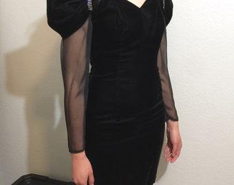 Black velvet 80's dress