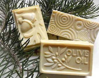 3 Bars of Pure Castile Soap, Shampoo Bars, Men's Soap, Cold Process Olive Oil Soap, Mild Natural Unscented Soap, Handcrafted Soap