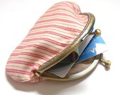 Coin Purse, Change Purse, Red & White Metal Framed Coin Pouch, Kiss Lock Pouch, Money Purse