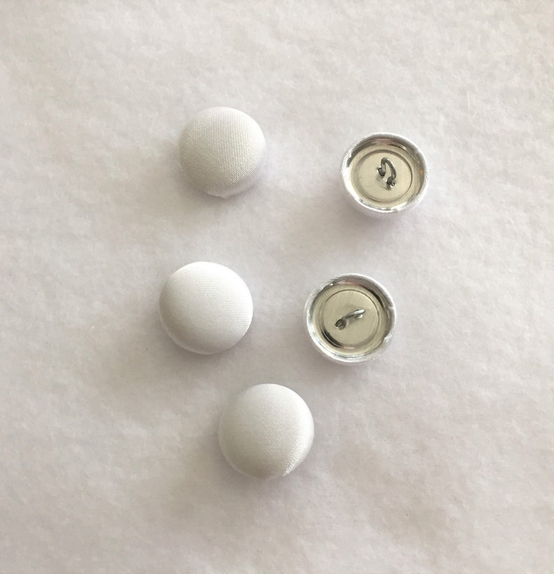 Covered White Satin Buttons Fashion Notions Buttons for Blouses and Craft Supplies Package of 5 Clothing Accessories