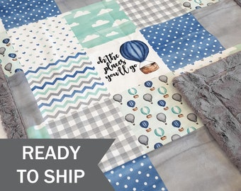 Baby Size 28x40 READY TO SHIP Moose Baby Blanket with Navy Arrow backing