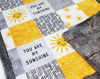 You Are My Sunshine Baby Quilt - Minky Baby Blanket - Gender Neutral - Faux Patchwork Quilt