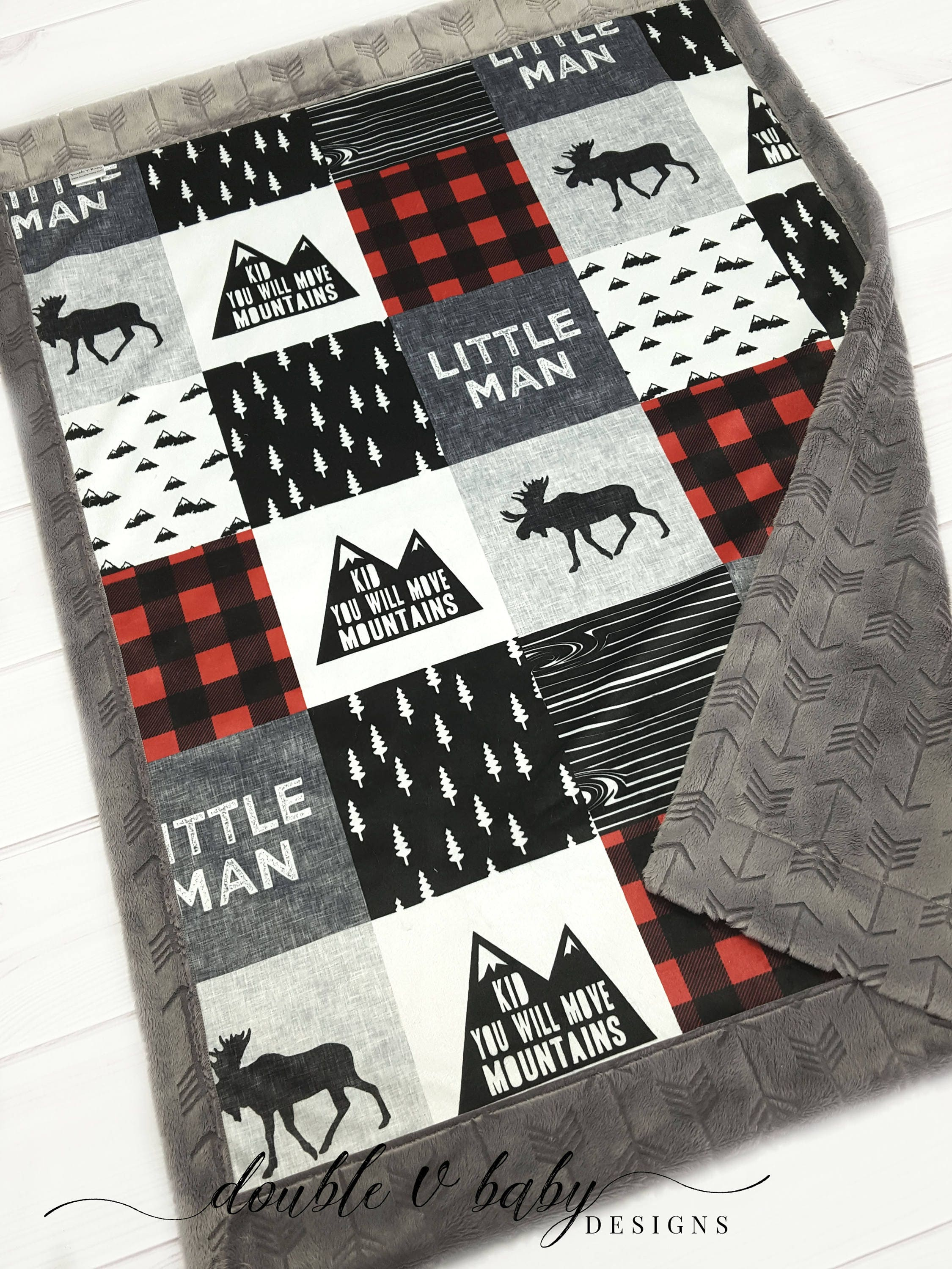 e5c5c55069110 Move Mountains Little Man Moose Minky Blanket - Woodland Baby Blanket