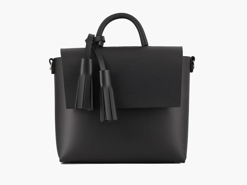 Tassel Black Leather Bag image 0