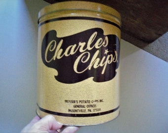 Charles Chips Metal Snack Container,Mid Century Retro Kitchen Decor, Sour  Cream And Onion