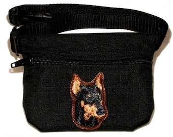 Doberman Pinscher embroidered dog treat bag / dog treat pouch. For dog shows, dog walking and training. Great gift for dog lovers.