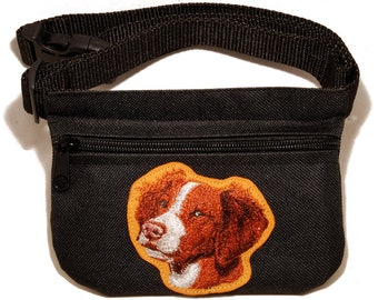 Brittany embroidered dog treat bag / dog treat pouch. For dog shows, dog walking and training. Great gift for dog lovers.