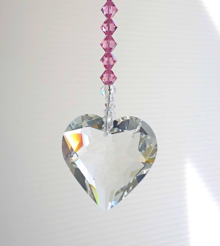 kristallherz swarovski rosa suncatcher kristall h ngen. Black Bedroom Furniture Sets. Home Design Ideas