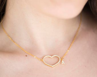 Raw Custom Personalized Heart Necklace Initial Necklace Personalized Gift Personalized Necklace Zirconia Necklace Letter Love Gift
