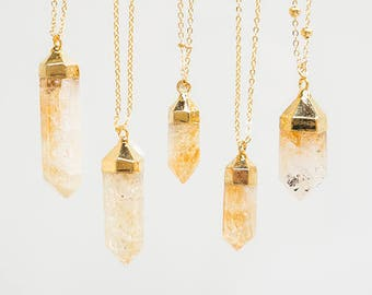 Raw Custom Womens Gift Citrine Necklace Crystal Necklace Gemstone Necklace Gold Necklace Dainty Necklace Layer Necklace For Her