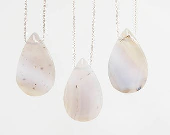 Raw Custom Womens Gift Crystal Necklace Drop Agate Necklace Gemstone Jewelry Silver Necklace Silver Jewelry Mom Gift for Her