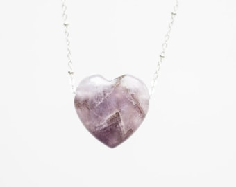 Amethyst Necklace Heart Necklace Crystal Necklace Gemstone Necklace Love Necklace Mom Gift Mother Gift Girlfriend Gift Wife Gift