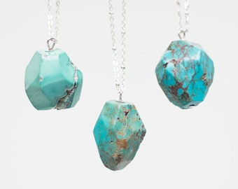 Genuine Turquoise Necklace Crystal Necklace Gemstone Necklace Raw Necklace Silver Necklace Turquoise Jewelry