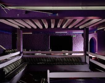 Purple abandoned night club near Paris, France
