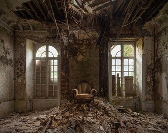 Photography of a chair in an abandoned chateau in France