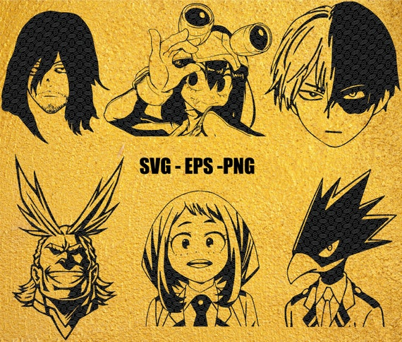 My Hero Academia Vector Pack 1 6 Characters Silhouettes Anime Svg Eps Png Files Eraserhead All Might Fumikage Shoto Tsuyu Ochaco