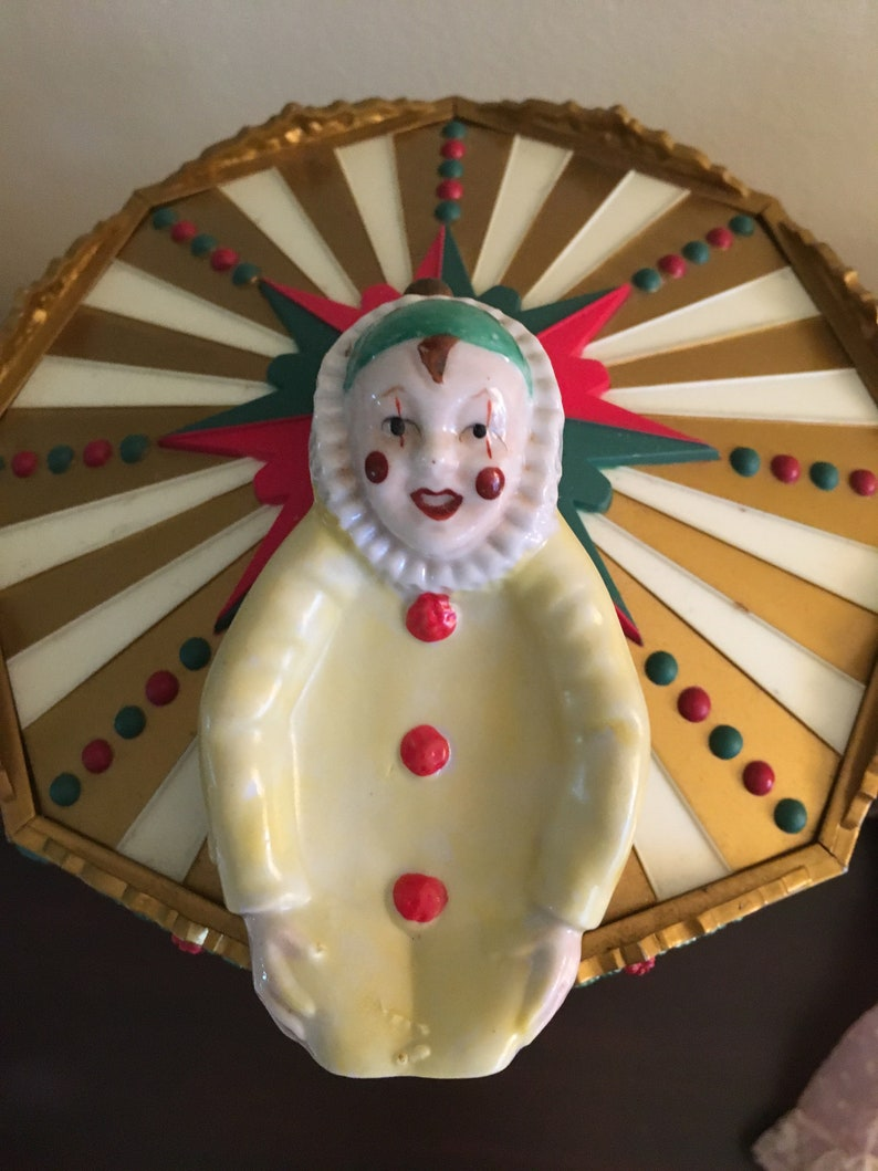 Harlequin DishTray Porcelain Yellow Green Red Kneeling Figure 1940/'s Japan MINT Condition