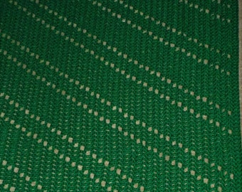 "Green Crochet Blanket Afghan 49"" x 68"" Handmade, Acrylic Blanket, Rich True Green Color, Soft Thick Luxury, Sofa Couch Cover, Green Decor"