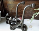 2 Cast Iron Shelf Double Prong Hooks - Vintage Architectural Salvage - Coat, Scarf, Jacket, Display Prop or Decor Hanger