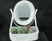 Shabby White Wicker Mirror and Shelf Planter - Hall Bedroom, Bathroom, Dorm Display - Vintage Wall Decor or Table