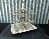 Shabby White Metal Bird Cage for Decor or Prop - Decorative Planter, Display, Repurpose, Upcycle Farmhouse Cottage Decor