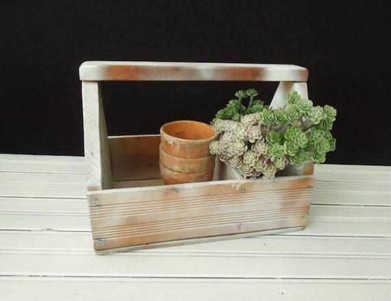 Wood Tool Box Planter Tote Wooden Whitewashed Vintage Etsy
