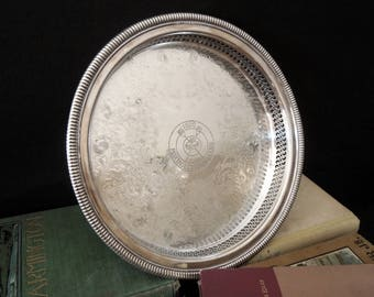 Silver Metal Tray Trophy Award Vintage  - Prop Display Decor Sports Home Decor Vintage - Entry Table - Catch All Tray
