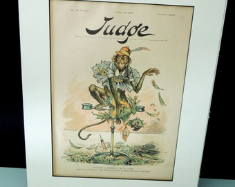 Judge Magazine Cover 1894 Matted to Frame - Antique Political Satire - Monkey (Senate) - Gift for Political Collection History Teacher