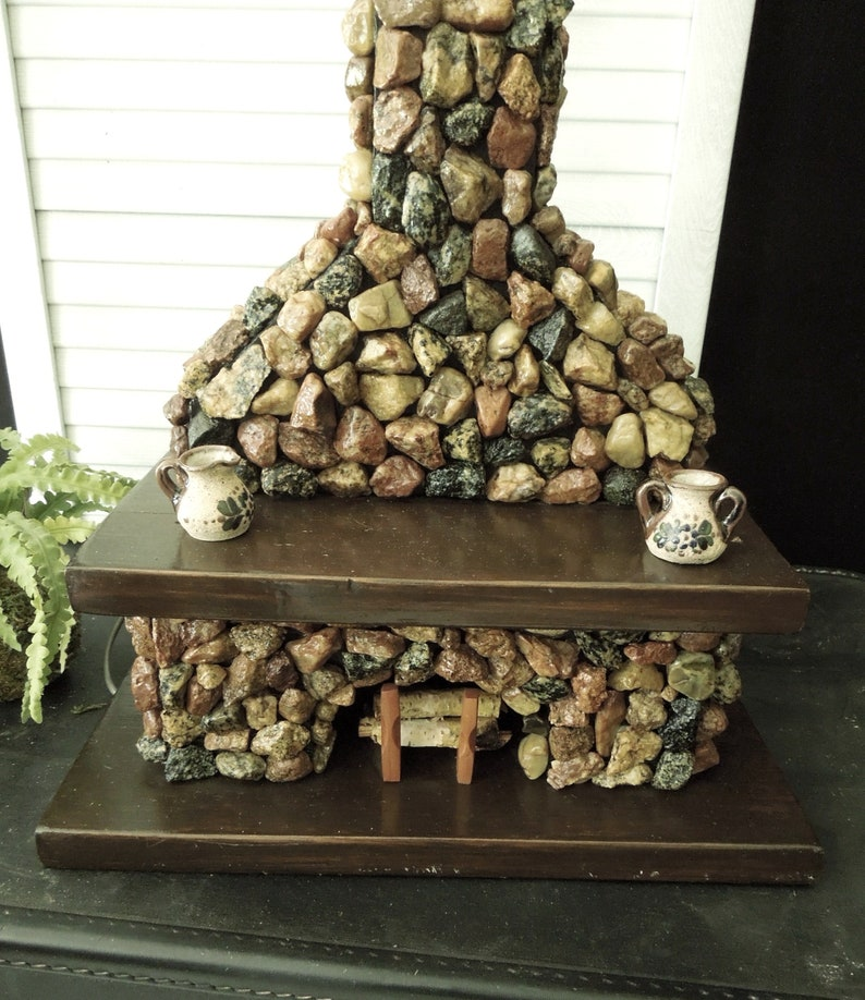 Fabulous Lamp Base Stone Fireplace With Mantel Vintage Folk Art Rustic Home Interior And Landscaping Synyenasavecom