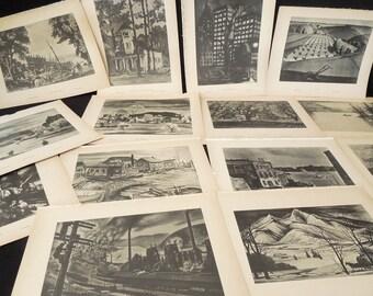 Art Prints 1940's - Art to Frame Art Book Print Sepia Tone - Portrait of America - American Artists Locations People - Six Vintage Prints