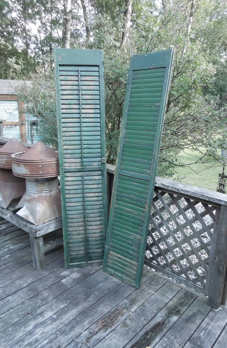 Pair Of Farmhouse Large Shutters 78 1 4 Antique Architectural Salvage Shabby Rustic Primitive Decor Prop Or Display