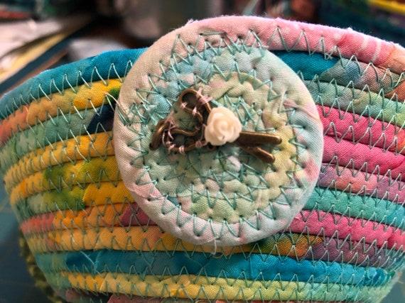 Round Heart Blue Batiks Coiled Clothesline basket #H3