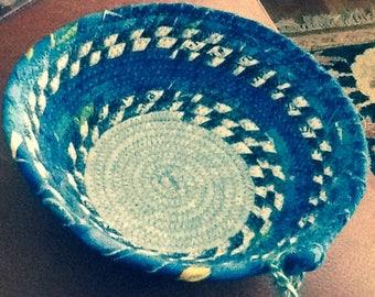 "Round Blue Coiled Bowl 6"" diameter"