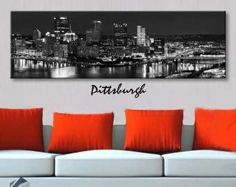 07aa1036862 Single panel 3 Size Options Art Canvas Print Pittsburgh City Skyline  Panoramic Downtown Night black white Wall Home decor framed 1.5