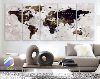 """XLARGE 30""""x70"""" 5 Panels Art Canvas Print Watercolor Map World Push Pin Travel Wall color Brown beige decor Home interior (framed 1.5"""" depth)"""