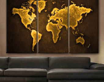 Huge world map etsy huge 3 panels framed 15 depth art canvas print beautiful world map color gold travel gumiabroncs Choice Image