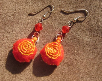 Felt Embroidered Swirly Puff Earrings