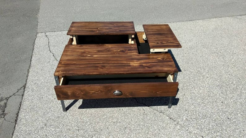 Double Popup Coffee Table Stained In Walnut Etsy