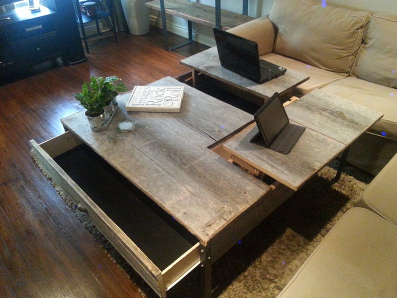 Coffee Table With Pop Up Top.Double Pop Up Barn Wood Coffee Table