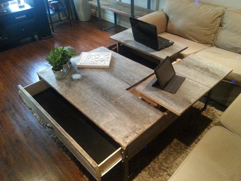 Pop Up Coffee Table.Double Pop Up Barn Wood Coffee Table