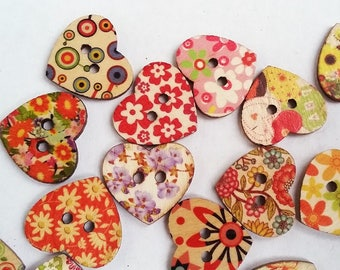Heart shaped painted wooden buttons with 2 holes for knitting, crocheting sewing scrapbooking and other crafts, 8 pcs