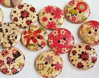 Small, painted wooden buttons with 2 holes for knitting, crocheting sewing scrapbooking and other crafts, 8 pcs